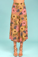 Billabong Can It Be Light Brown Floral Print Culottes 3