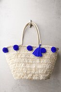 Byron Bay Beige and Blue Pom Pom Tote Bag 1