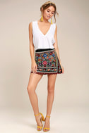 Don't Stop the Party Black Embroidered Mini Skirt 2