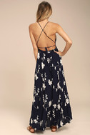 Winding Vines Navy Blue Embroidered Maxi Dress 3