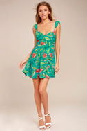 Guaranteed Glee Green Floral Print Backless Skater Dress 2