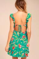 Guaranteed Glee Green Floral Print Backless Skater Dress 3