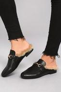 Steve Madden Jill Black Leather Faux Fur Loafer Slides 4
