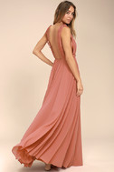 Dance the Night Away Rusty Rose Backless Maxi Dress 1
