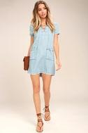 Awayday Blue Chambray Lace-Up Shift Dress 2