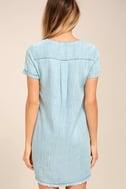 Awayday Blue Chambray Lace-Up Shift Dress 3