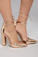 Angela Rose Gold Lace-Up Heels 2