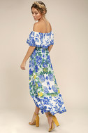 Antigua Blue Floral Print Off-The-Shoulder Dress 2
