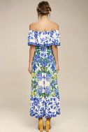 Antigua Blue Floral Print Off-The-Shoulder Dress 3