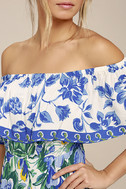 Antigua Blue Floral Print Off-The-Shoulder Dress 4