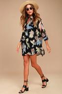 In the Tropics Sheer Black Tropical Print Shirt Dress 1