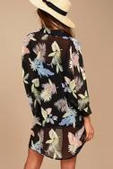 In the Tropics Sheer Black Tropical Print Shirt Dress 3