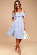 Yacht Rock Blue and White Striped Off-the-Shoulder Midi Dress 1