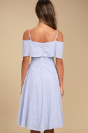 Yacht Rock Blue and White Striped Off-the-Shoulder Midi Dress 3
