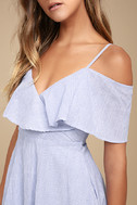 Yacht Rock Blue and White Striped Off-the-Shoulder Midi Dress 4