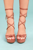 Macy Dusty Pink Lace-Up Wedges 1