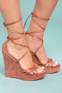 Macy Dusty Pink Lace-Up Wedges 2