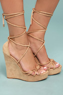 Macy Nude Lace-Up Wedges 2