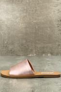 Steve Madden Grace Rose Gold Leather Slide Sandals 1
