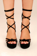 Macy Black Lace-Up Wedges 1