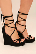 Macy Black Lace-Up Wedges 2