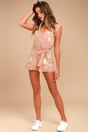 Playful Petals Blush Pink Embroidered Romper 1
