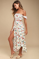 Easy on the Eyes Cream Floral Print Off-the-Shoulder Midi Dress 2
