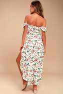 Easy on the Eyes Cream Floral Print Off-the-Shoulder Midi Dress 3