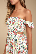 Easy on the Eyes Cream Floral Print Off-the-Shoulder Midi Dress 4