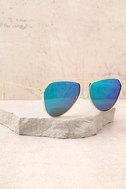 Keep Dancing Gold and Green Mirrored Aviator Sunglasses 1