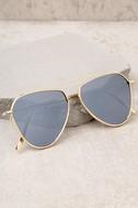 Keep Dancing Gold and Grey Mirrored Aviator Sunglasses 2