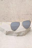 Keep Dancing Gold and Grey Mirrored Aviator Sunglasses 1