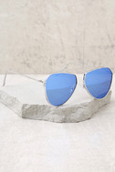 Keep Dancing Silver and Blue Mirrored Aviator Sunglasses 1