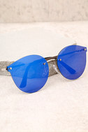 Candy Dreams Silver and Blue Mirrored Sunglasses 2