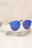 Candy Dreams Silver and Blue Mirrored Sunglasses 1
