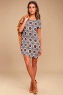 Perfect Getaway Blue and Orange Print Shift Dress 1