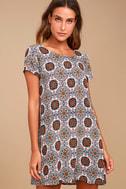 Perfect Getaway Blue and Orange Print Shift Dress 2