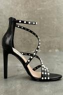 Steve Madden Meg Black Snake Peal Ankle Strap Heels 2