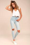 Rollas Eastcoast Staple Light Blue Distressed Skinny Jeans 1