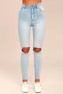 Rollas Eastcoast Staple Light Blue Distressed Skinny Jeans 2
