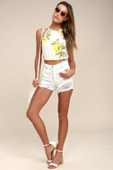Rollas Original White High-Waisted Distressed Shorts 1
