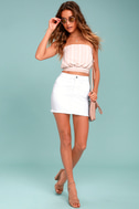 Pop and Lock White Denim Mini Skirt 1