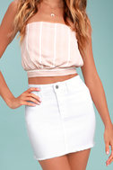 Pop and Lock White Denim Mini Skirt 3