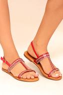 Brielle Red Rhinestone Sandals 4
