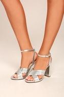 Genevieve Silver Ankle Strap Heels 4