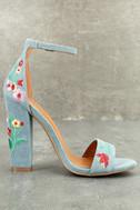 Suri Light Blue Embroidered Ankle Strap Heels 2