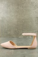 Kelby Blush Suede Ankle Strap Flats 1