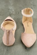 Kelby Blush Suede Ankle Strap Flats 3