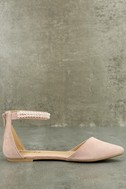 Kelby Blush Suede Ankle Strap Flats 2
