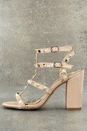 Camila Nude Patent Studded Ankle Strap Heels 1